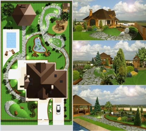 Фото ландшафтного дизайна участка прямоугольной формы